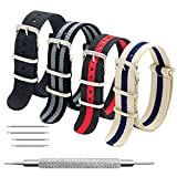 Nato Strap 4 Packs - 20mm 22mm Premium Ballistic Nylon Watch Bands Zulu Style with Stainless Steel Buckle (Black+Black Grey+Black Red+Linen Navy, 20mm)