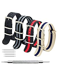 Nato Strap 4 Packs 18mm 20mm 22mm Premium Ballistic Nylon Watch Bands Zulu Style with Stainless Steel Buckle (20mm, Black+Black Grey+Black Red+Linen Navy)
