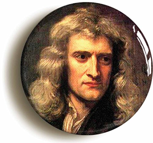 Isaac Newton Button Pin (Size is 1inch Diameter) Science Gravity - Isaac Newton Costume