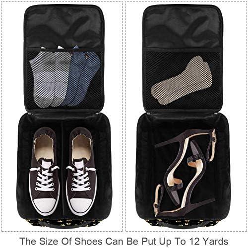 MYSTAGE シューズバッグ 靴箱 シューズケース シューズ袋 旅行収納ポーチ 二層式 靴入れ 小物収納 収納ケース アウドドア 出張 旅行 金色 猫の足跡