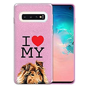 FINCIBO Case Compatible with Samsung Galaxy S10 6.1 inch, Shiny Sparkling Pink Bling Glitter TPU Protector Cover Case for Galaxy S10 (NOT FIT S10 Plus) - I Love My Sable Rough Collie Dog 2