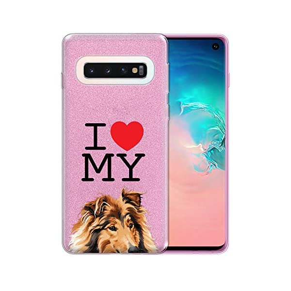 FINCIBO Case Compatible with Samsung Galaxy S10 6.1 inch, Shiny Sparkling Pink Bling Glitter TPU Protector Cover Case for Galaxy S10 (NOT FIT S10 Plus) - I Love My Sable Rough Collie Dog 1