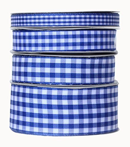 Ribbon Bazaar Taffeta Gingham Check 5/8 inch Royal Blue 25 yards Ribbon