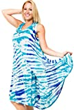 Product review for La Leela Rayon Plus Size Tank Hand Tiedye Dress Cover up Maxi Caftan Beach Dress
