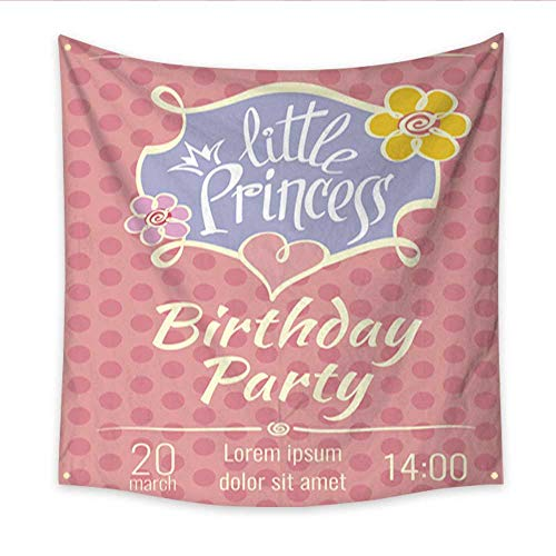 Wall Hanging Tapestry Little Princess Birthday Party Vector Poster or Invitation Card Template Living Room Bedroom Dorm Decor 32W x 32L Inch ()