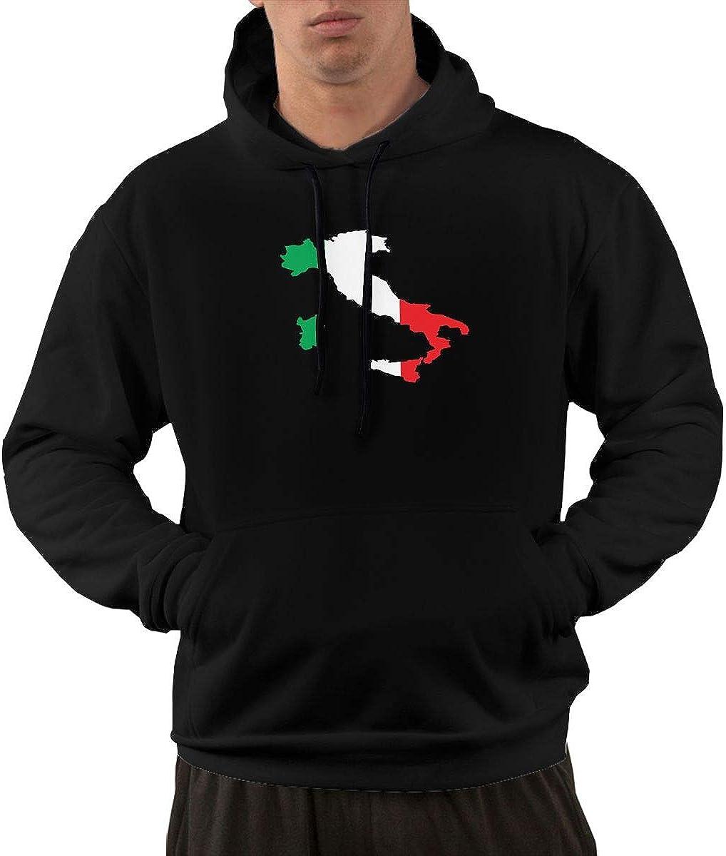 Iponvx Italian Green White Red Flag Map Hoodie Mens Performance Active Full Zip Sweatshirts