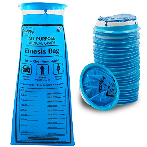 (Carebag Medical Grade Emesis Bag, 24 Count - Disposable Emesis Bags for The Car - Designed for Motion Sickness & Morning Sickness - 24 Travel Size Emesis Bags for on The go use)
