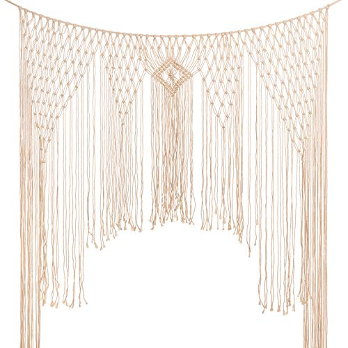 - Large Macrame Wall Hanging,Modern Macrame,Macramé Handwoven Boho Chic,Bohemian Wedding Backdrop for Home Art Decor,Living Room Bedroom Decorations,Ceremony or Photography. 5FT X 6.5FT