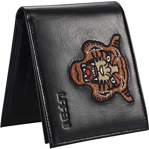 LAFENI Bifold Wallet, Mens Genuine Leather RFID Blocking Wallet with ID (Tigers Tri Fold Leather)