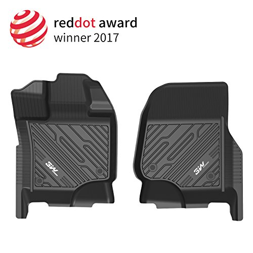 3W Floor Mats for Ford F150 SuperCrew Cab (2015-2018) Driver & Passenger 2pcs Bucket Seating TPE Floor Liner All Weather Custom Fit Car Mats, - Cab Drivers Supercrew