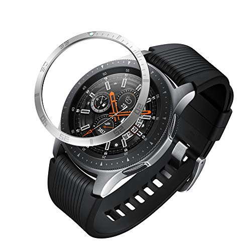 GELISHI Stainless Steel Bezel Ring Compatiable Galaxy Watch 46mm/Galaxy Gear S3 Frontier & Classic Bezel Loop Adhesive Cover Anti Scratch & Collision Protector for Galaxy Watch Accessory (Silver-05)