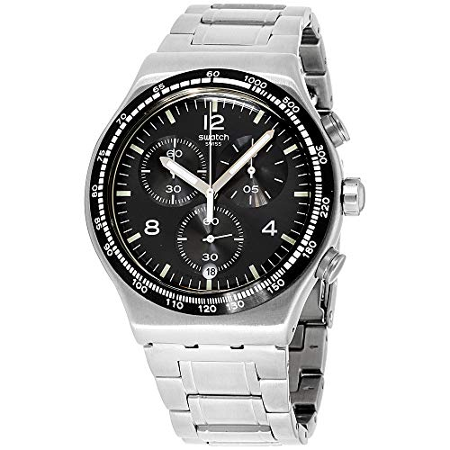 Flight Stainless Steel Watch - Swatch Irony Night Flight Quartz Black Dial Stainless Steel Men's Watch YVS444G