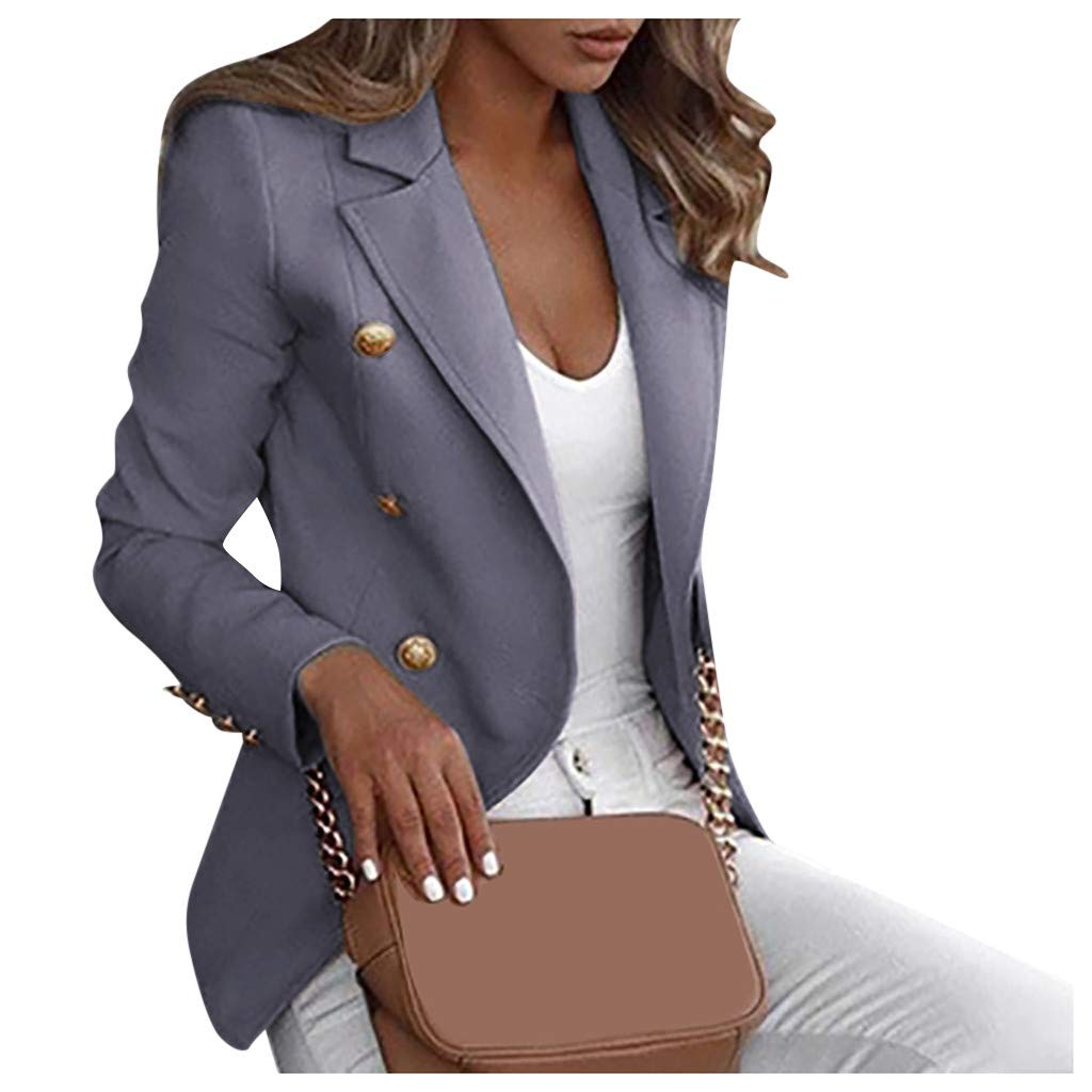 Willow S Women's Long Sleeve Cardigan Suit Plus Size Casual Autumn Joker Solid Color Button Lapel Small Blazer Jacket Gray by Willow S