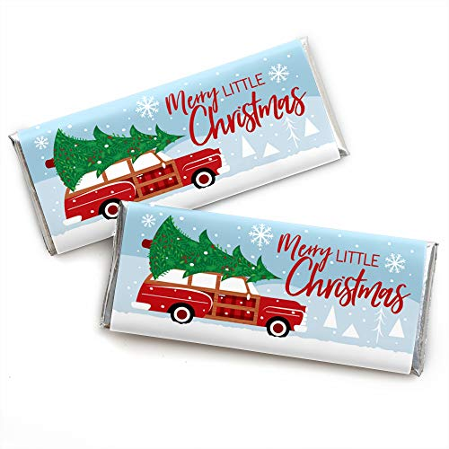 Merry Little Christmas Tree - Candy Bar Wrapper Red Car Christmas Party Favors - Set of 24