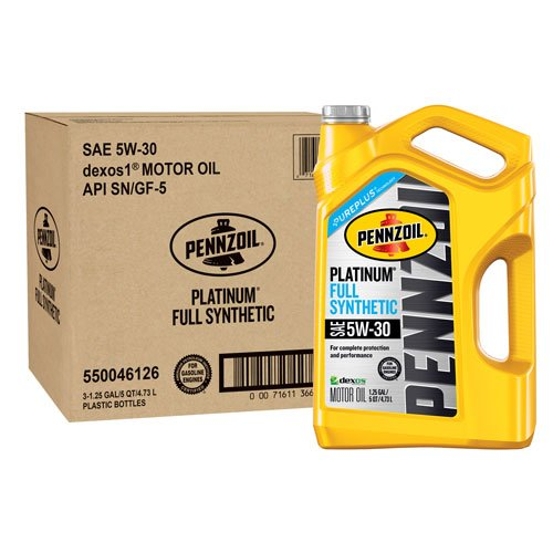 Pennzoil 550046126-3PK Platinum 5 quart 5W-30 Full Synthetic Motor Oil (SN/GF-5 Jug 3pk.) by Pennzoil