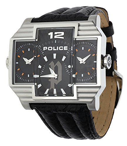 Police Men's PL-13088JS/02 Hammerhead Rectangular Black Tri-Dial Leather Watch
