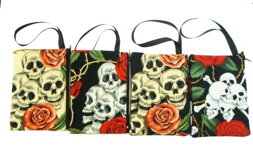 WHOLESALE, US Handmade Fashion A Pack of 6 Piece Electronic device clutch purse, pouch wristband makeup bag, cosmetic bag SKULL ROSE TATTOO Day of the Dead Rocakbilly Handmade handbag purse (Rockabilly Halloween Mix)