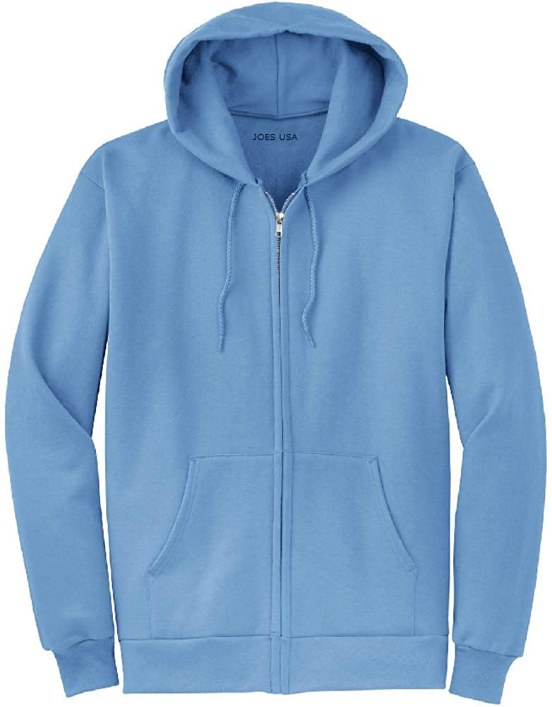 Joes USA Full Zipper Hoodies Sizes S-5XL Hooded Sweatshirts in 28 Colors