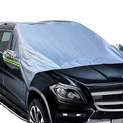Windshield Sun Shade, Magnetic Car Sun Shade Elastic with hooks Fixed Four Wheels & Reflective Warning Bar on Mirror Covers - Ice Sun Frost and Wind Proof in All Weather, Fit for Most Vehicle