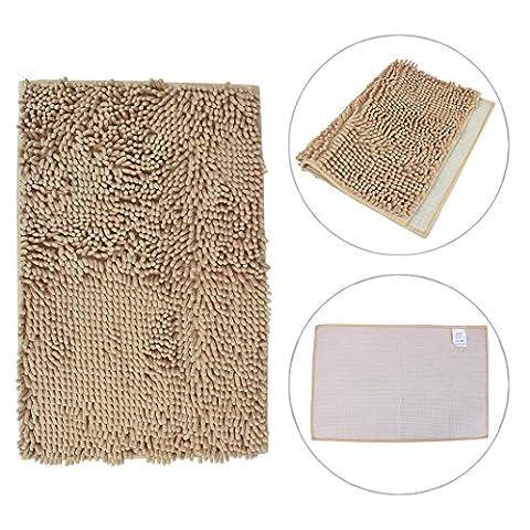 Chenille Non Slip Bathroom Mat HuaForCity Washable Rectangle Light Tan Toilet Carpet Bath Rug Entrance Pad - 1032 Red Kitchen