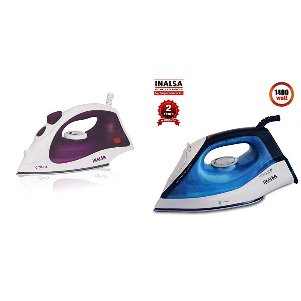 INALSA Steam Iron Optra-1400W with 18g/min Continuous Steam & Ceramic Coated Soleplate | Spray Funct & Steam Iron Hercules-1400W,(Blue/Grey) Combo