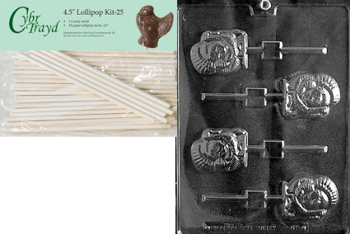 Cybrtrayd 45St25-T041 Turkey Lolly Thanksgiving Chocolate Candy Mold with 25-Pack 4.5-Inch Lollipop Sticks ()