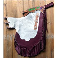 HILASON RODEO BRONC BULL RIDING NATURAL HAIR ON LEATHER CHINKS CHAPS COWHIDE ADULT