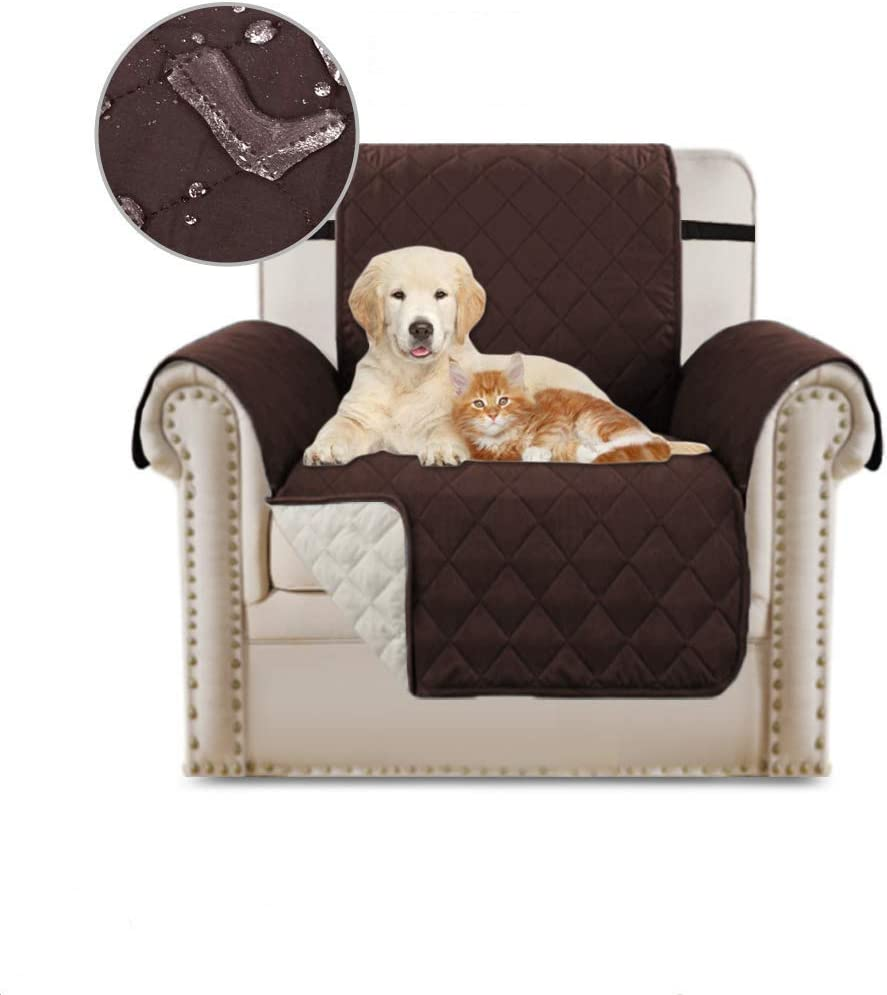 JSMY Anti-Slip Sofa Slipcover Reversible Quilted Furniture Protector Water Resistant Pet Sofa Protector Sofa Slipcover Couch Covers for 3 Cushion Couch(Brown 1 Seater(53x183cm))