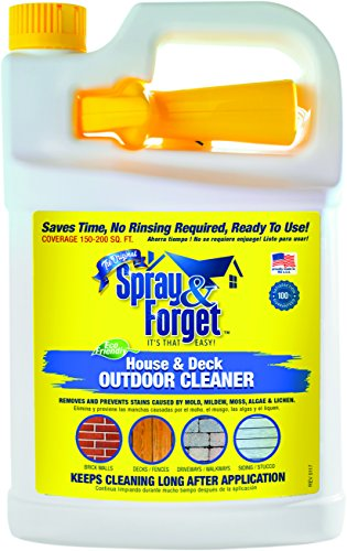 Spray & Forget House & Deck Cleaner with Nestable Trigger, 1 Gallon Bottle, 1 Count, Outdoor Cleaner, Mold Remover, Mildew Remover (Concrete Pavers Patio Over)