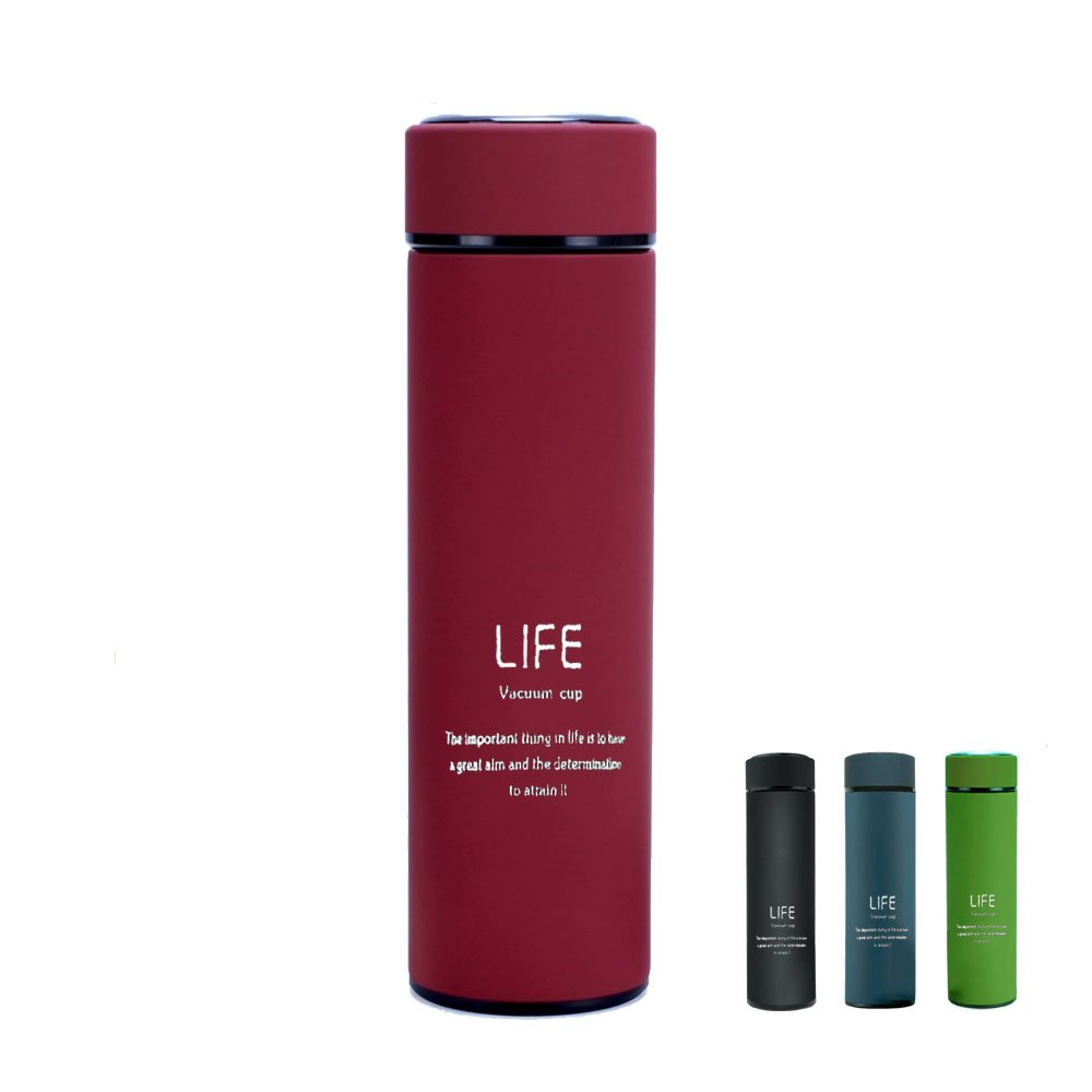 Travel Coffee Mug 17 oz. Stainless Steel Fashionable Vacuum Insulated Leak-proof BPA Free Double Walled Hot Cold Drink Sports Water Bottle for Home,Office,School - Works Great for Ice Drink, Hot Beverage (Black) DUBUT21