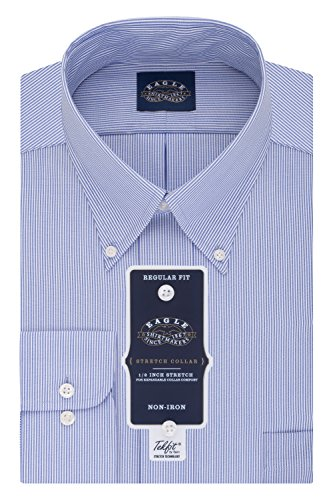 Dress Stripe Shirt (Eagle Men's Non Iron Stretch Collar Regular Fit Stripe Buttondown Collar Dress Shirt, Periwinkle, 17