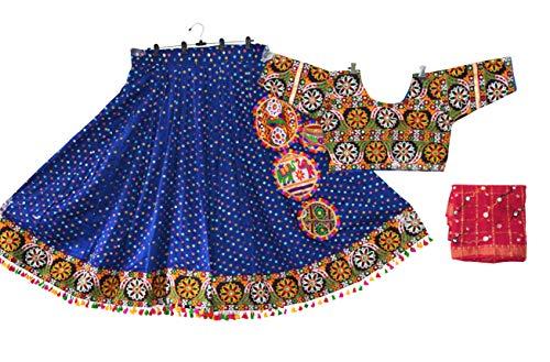 (Nanda Women Cotton Gujarat Handmade Special Bandhej Work Rabari Embroidered Lehenga Choli Blue Free size)