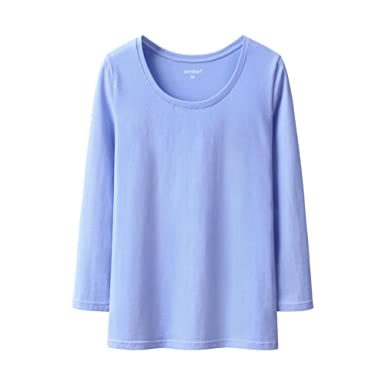 5e154b968dd Amazon.com  Wangs Women s Pullovers Blue Seven-Sleeve t-Shirt Cotton ...