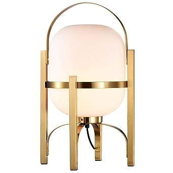 LED lámpara de mesa de cristal redondo del metal retro de ...