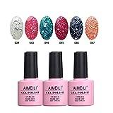 AIMEILI Soak Off UV LED Gel Nail Polish Multicolor/Mix Color/Combo Color Set Of 6pcs X 10ml - Kit Set 6