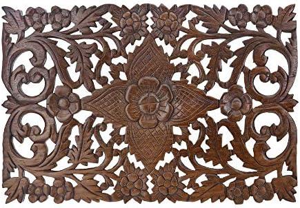 Grand Thai Hibiscus Flower Hand Carved Teak Wood Wall Art