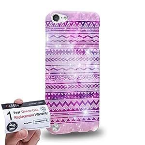 Case88 [Apple iPod Touch 5] 3D impresa Carcasa/Funda dura para & Tarjeta de garantía - Art Aztec Design Galaxy Overlay Purple Mix