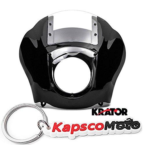 Krator NEW Black & Clear Quarter Fairing Windshield Kit for Harley Davidson XL FXR Dyna + KapscoMoto Keychain