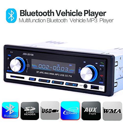 Kingtoys® Autoradio digital Media Receiver mit Bluetooth Freisprecheinrichtung und Abspielfunktion für Smartphone,Handy,MP3-Player,USB Anschluss und SD Kartenslot,4x 60Watt,Aux-Eingang (KT-JSD-20158 Schwarz)