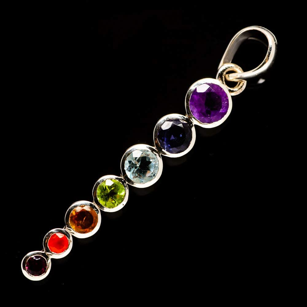 - Handmade Jewelry Vintage PD729530 925 Sterling Silver Bohemian Ana Silver Co Multi-Stone Chakra Pendant 2