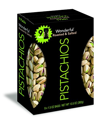 Wonderful Pistachios, Roasted and Salted, 1.5 Ounce (Pack of 9)
