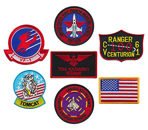 US Naval Aviator Top Gun Fighter Tactics Patch set of 6 and a FREE Patch (Iceman)