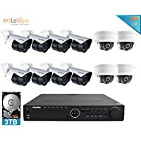 LaView 2MP IP 12 Camera Security System, 16 Channel IP PoE NVR (Resolution 1080p - 6MP) w/3TB HDD and 8 IP Bullet & 4 IP Dome White Surveillance Camera Kit