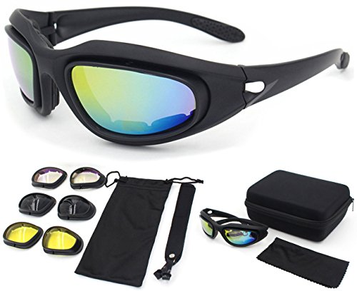 - Zabarsii Polarized Sunglasses, Bulletproof CS, Tactical Goggles, Field Motorcycle,Windproof Mirror,Fit for Male or Female Black
