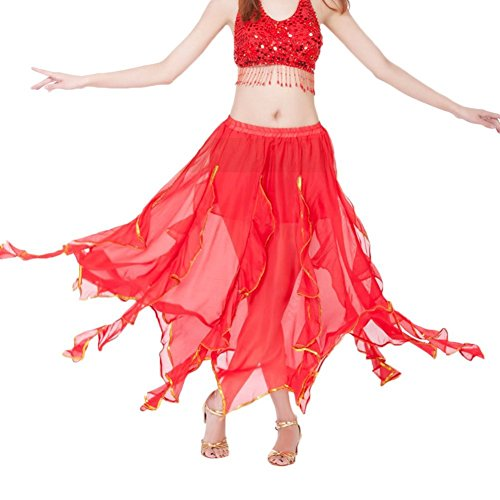 AvaCostume Tribal Chiffon Ruffled Maxi Skirt for Belly Dance Red -