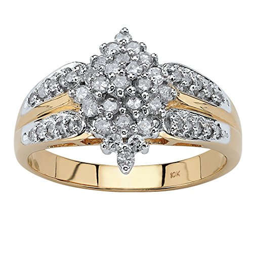 (White Diamond 10k Yellow Gold Marquise Split-Shank Cluster Ring (.50 cttw, HI Color, I3 Clarity) Size 10)
