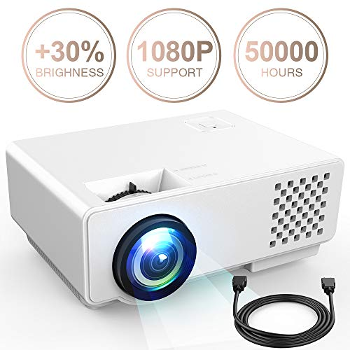 Video Projector -DBPOWER RD810 Portable Mini Projector, 176″ Display, 1080P Supported 50,000 Hrs Home Movie Projector, Compatible with HDMI VGA AV USB