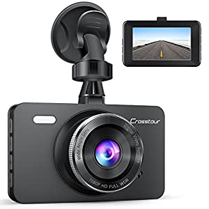 """Dash Cam, Crosstour 1080P Car DVR Dashboard Camera Full HD with 3"""" LCD Screen 170°Wide Angle, WDR, G-Sensor, Loop Recording and Motion Detection (CR300)"""