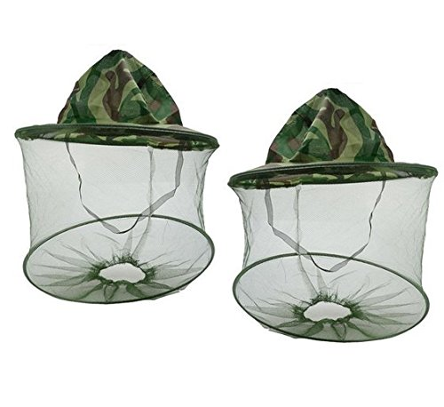 Aftermarket 2pcs Camouflage Beekeeping Beekeeper Anti-mosquito Bee Bug Insect Fly Mask Cap Hat with Head Net Mesh Face Protection Outdoor Fishing Equipment