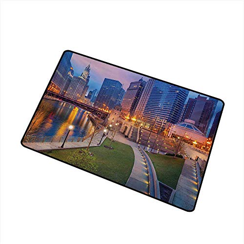 - Becky W Carr Chicago Skyline Commercial Grade Entrance mat Cityscape Urban Scene Waterfront Illuminated at Twilight Blue Hour Image for entrances, garages, patios W29.5 x L39.4 Inch,Multicolor